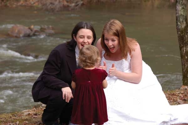 |||Melissa & Amanda, and daughter Sarah|Melissa & Amanda, wed in TN, present a ring & special vow to daughter Sarah|
